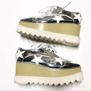 Stella McCartney Silver Star Elyse Platforms Sz 38